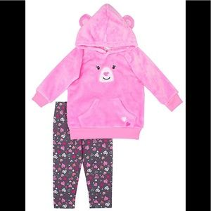 Nannette Pink Bear Hoodie & Gray Heart Leggings